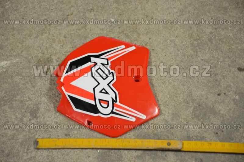 přední štítek číslo minicross typ1 - červená + nálepka