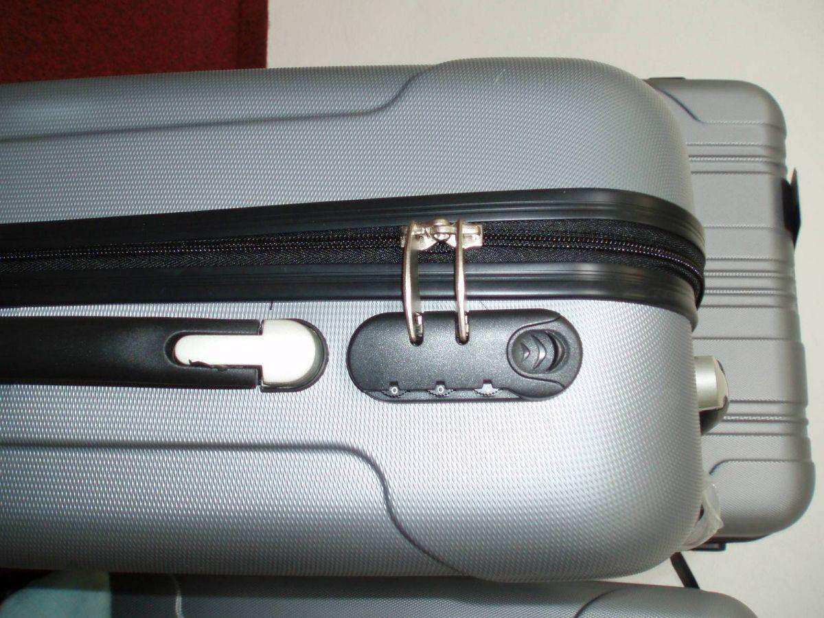 sada skořepinové kufry 3ks cestovní 4 kolečka - stříbrná mat