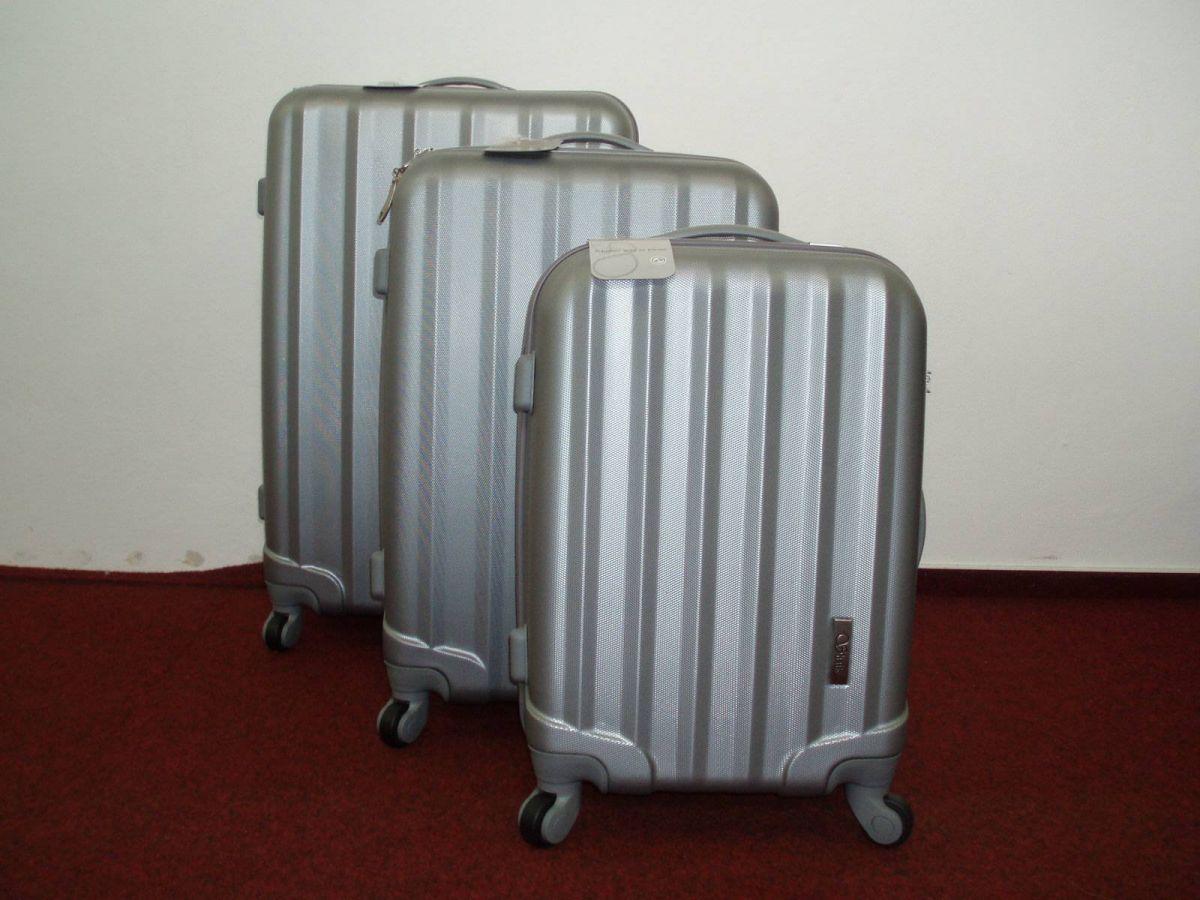 sada skořepinové kufry 3ks cestovní 4 kolečka - stříbrná mat2
